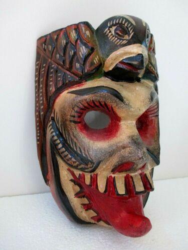 """Wood Carving Wall Mask Mexican Folk Art Devil Skull Hawk Eagle Head Guerrero 10"""""""