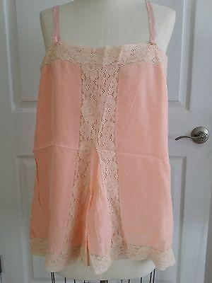 Antique Flapper 1920S Peach/Pink Slip Chemise Lace  38 Bust