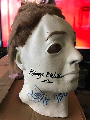 Various Cast Signed Michael Myers MASK 1978 Halloween Autograph RARE Signed By 5 - Michael Myers Mask Halloween 5