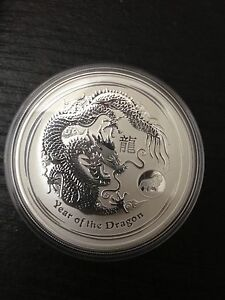 2012 Australian Lunar Year Of The Dragon 1oz Silver Coin With Lion Privy