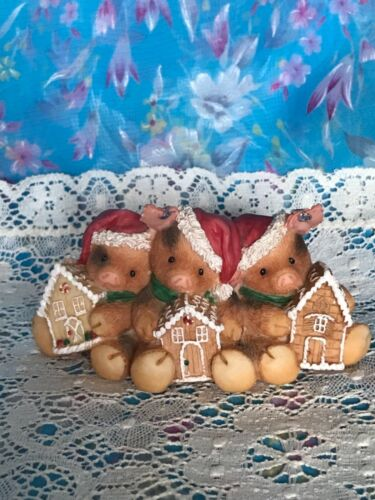 VIntage Enesco This Little Piggy figurine pig Christmas Home for the Hoggydays