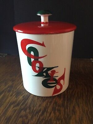 "Vtg 1960 Mcm Holt Howard ""Cookies"" Script Cookie Jar Atomic Christmas Canister"