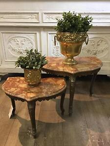 Nest 2 Small Marble Top Brass Base Vintage Side Tables Richmond Hawkesbury Area Preview