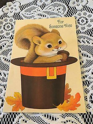 Vintage Greeting Card Thanksgiving Squirrel In Pilgrim Hat