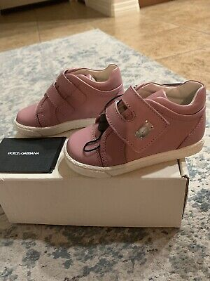 Dolce&Gabbana kids toddler Rosa anticco girl leather sneakers, size 23,new