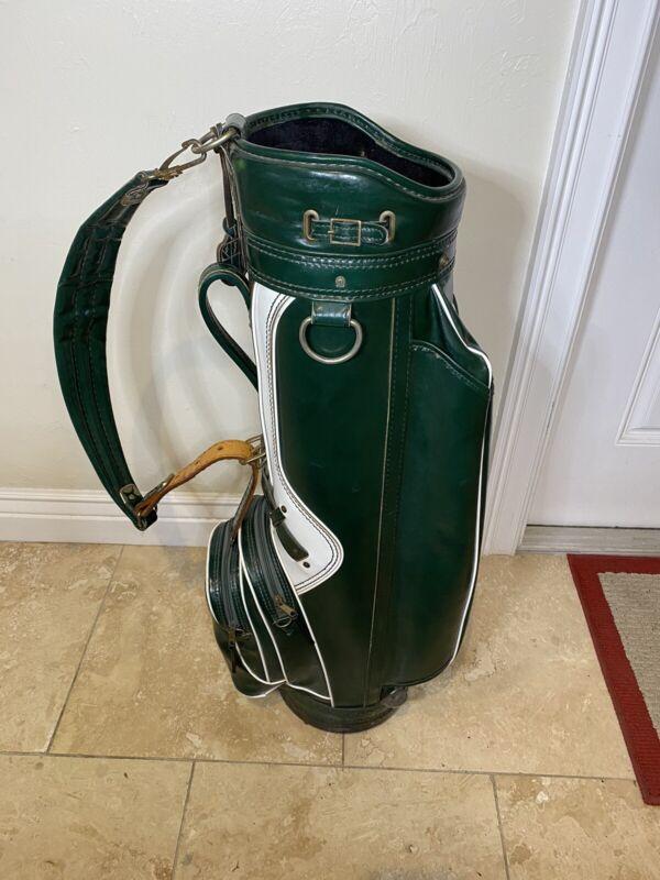 Vintage Burton MFG Co Jasper Alabama Michigan State Green And White Golf Bag