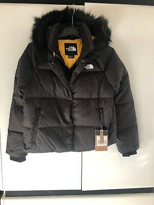 The North Face Dealio Women's 550 Fill Crop Black Hooded Down Jacket Size M New