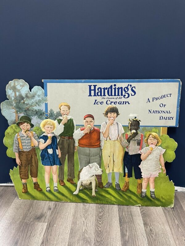 Hardings Ice Cream Vintage Cardboard Sign    (Our Gang, Little Rascals)
