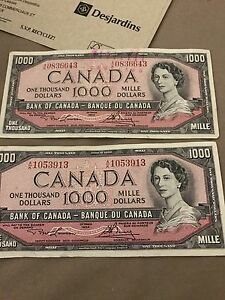 Selling 4 x 1954 1000$ in mint condition Gatineau Ottawa / Gatineau Area image 3