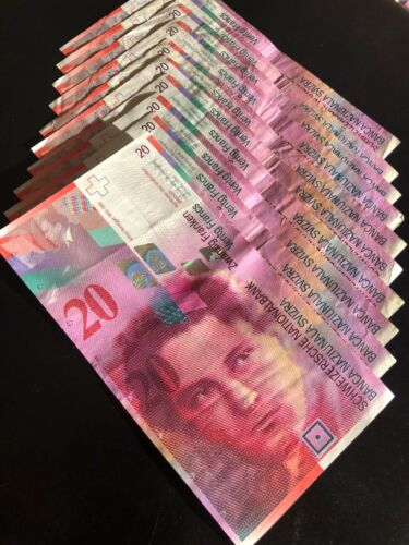 CHEAPEST Switzerland 200 FRANCS Bank Note Bill (10x 20 Francs) Circulating Swiss