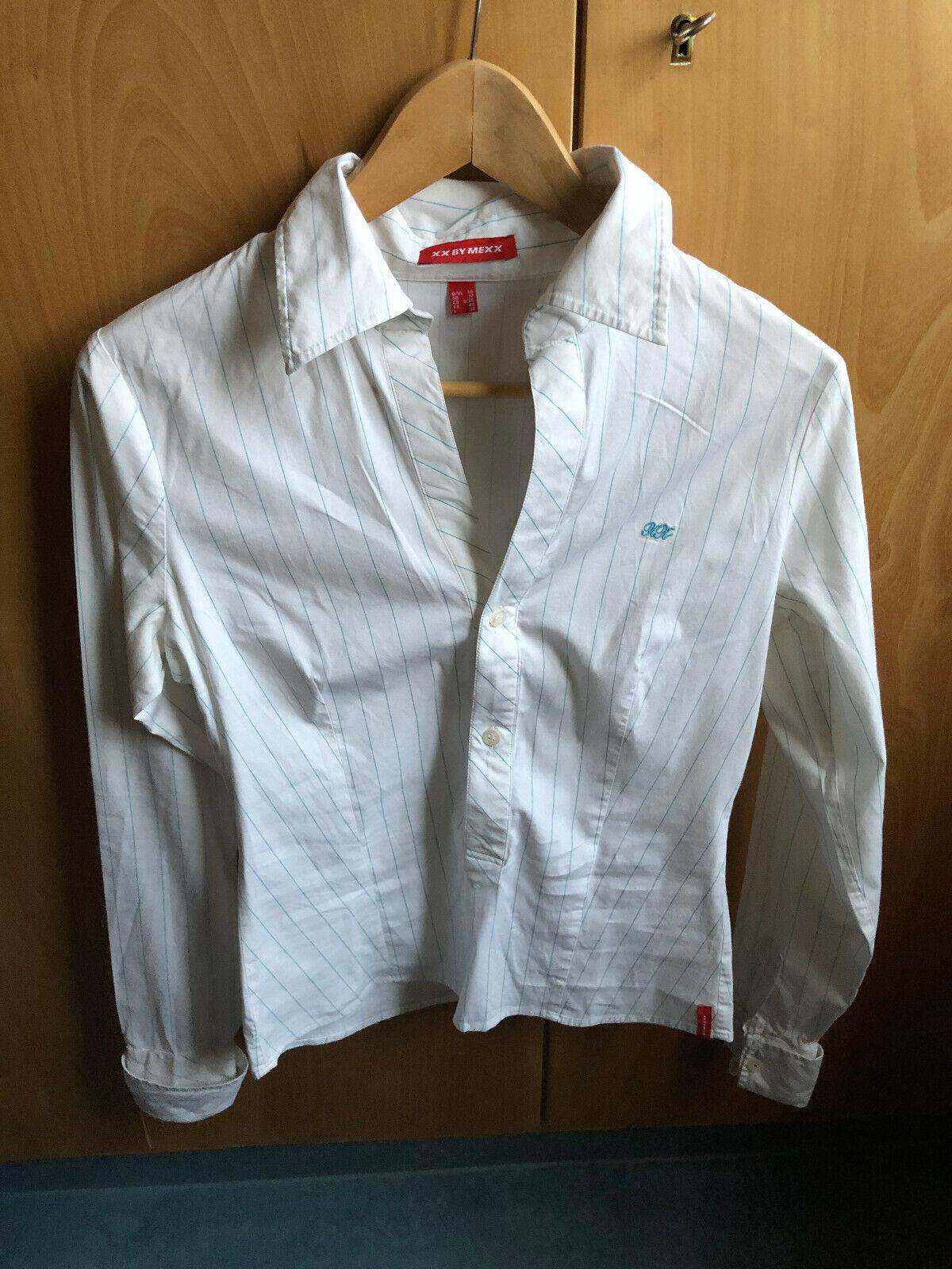 MEXX, Damen Bluse, weiß mit hellblauen Streifen, Gr. 36