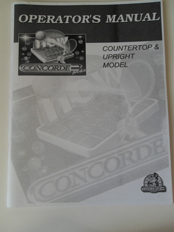 Original JVL Concorde 3 Plus Operator's Manual for Countertop & Upright Models