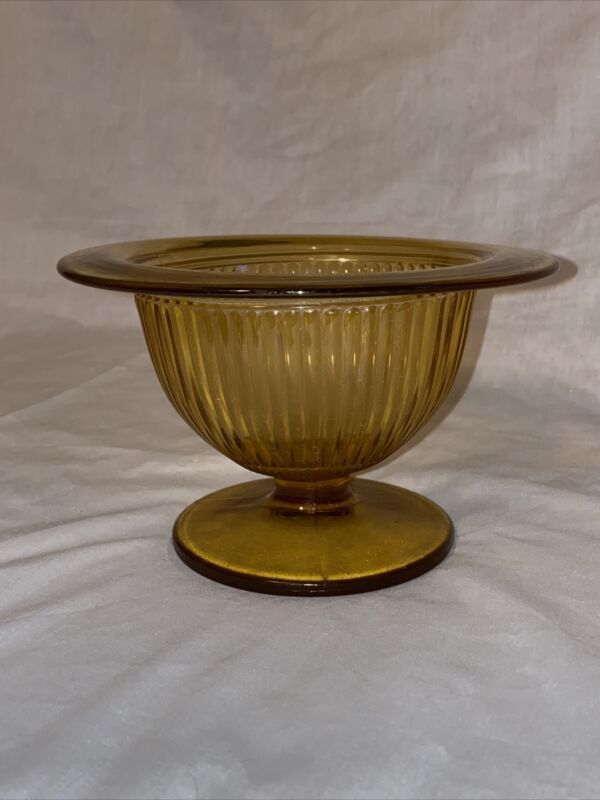 "6"" Vintage Hazel Atlas Footed Bowl Rolled Rim Optic Rib Yellow Amber Gold"