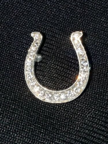 Horseshoe CRYSTALS in SILVERTONE Lapel Pin Gift Boxed