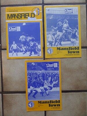 3 x Mansfield Town Home Football Programmes - Div 4 - 1980s - Lot 1