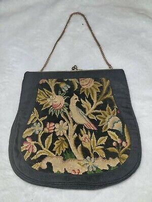 1920s Style Purses, Flapper Bags, Handbags Artbag Creations NY Needlepoint Purse Art Deco  Birds Flowers 7.5×7 acorn   $53.02 AT vintagedancer.com