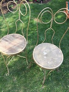 Antique ice cream parlour chairs for outdoor patio
