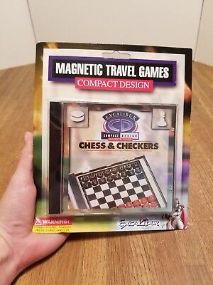 (Excalibur Compact Chess & Checkers Magnetic Travel Game NEW SEALED GIFT )
