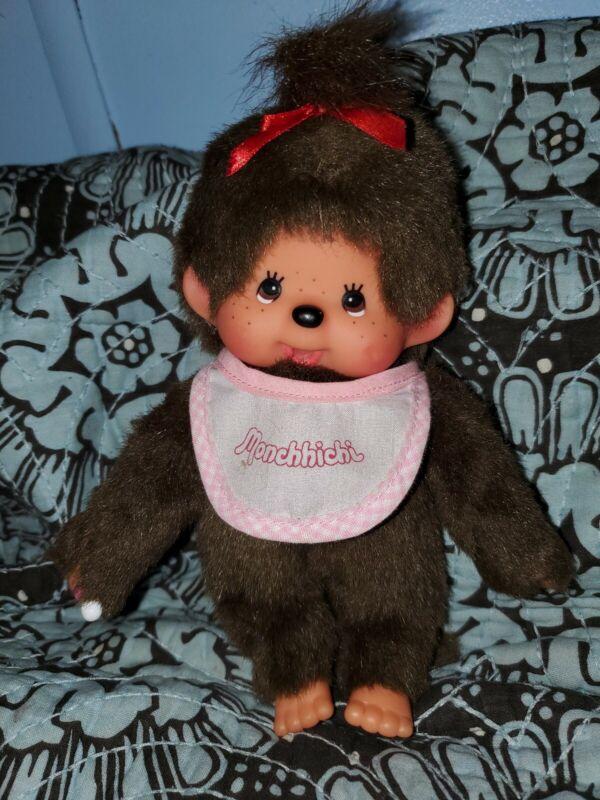 "Sekiguchi Monchhichi 8"" Girl Plush Doll With Pink Bib"