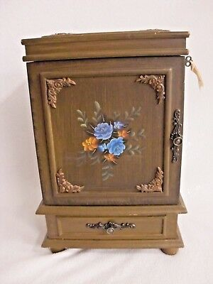 Floral Design Jewelry Armoire (VTG THOMAS PACCONI CLASSICS HAND PAINTED FLORAL DESIGN JEWELRY BOX ARMOIRE)