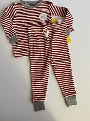 Burts Bees Baby Boy Girl Family Pajamas Size 12 18 Months Red Candy Cane