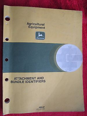 1987 JOHN DEERE AGRICULTURAL EQUIPMENT ATTACHMENTS AND BUNDLE IDENTIFIERS MANUAL