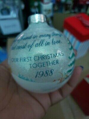 Hallmark Our First Christmas Together 1988 Sparkling Glass ball Ornament RARE