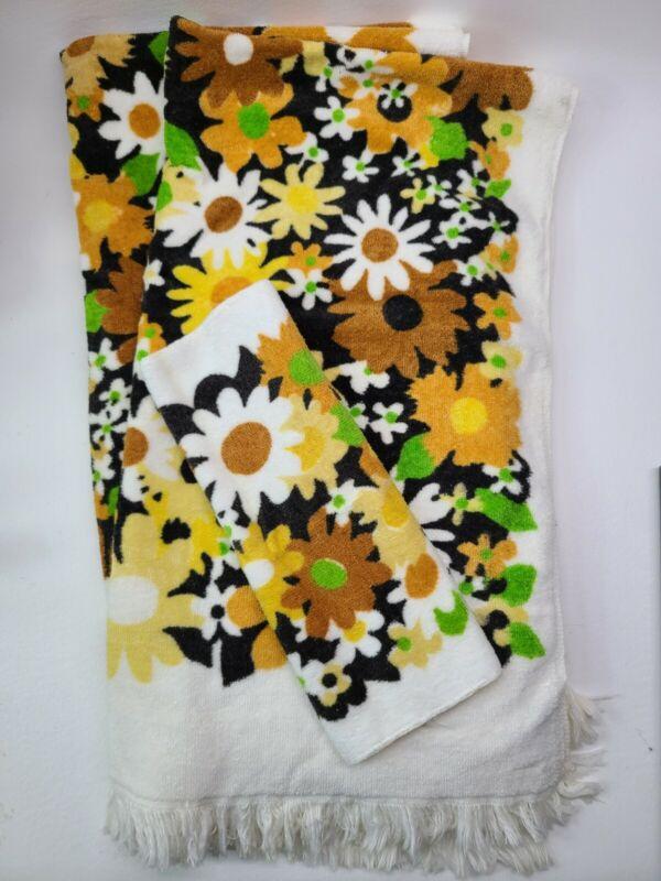 VTG Fieldcrest Orange Brown 70s Flower Floral Bath  Towels Washcloth 3PCS Fringe