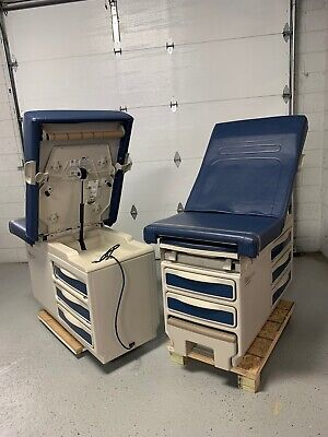 2 Lot Midmark Ritter 204 Navy Blue Upholstery Exam Table