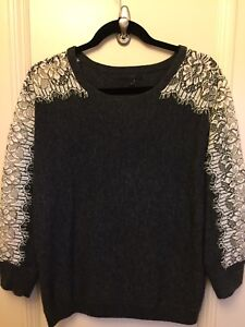 J Crew Wool/Cashmere and Lace Sweater - size M