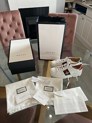 Genuine Gucci Ace Platform Trainers Uk5 But Will Fit A 6