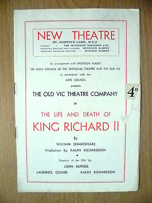 New Theatre Programme 1947- THE LIFE & DEATH OF KING RICHARD II by W Shakespeare