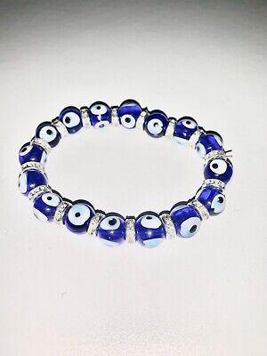 EVIL EYE BRACELET 10mm Glass Bead Blue Stretch Good Luck Protection Lampwork NEW Blue Evil Eye