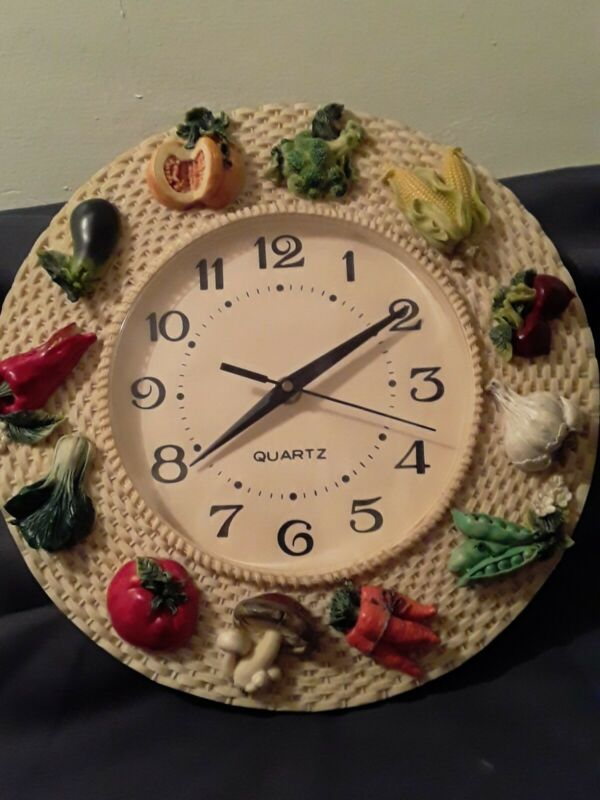 Vintage Large Vegetable Wall Clock, A Different Vegetable At Each Hour, Works