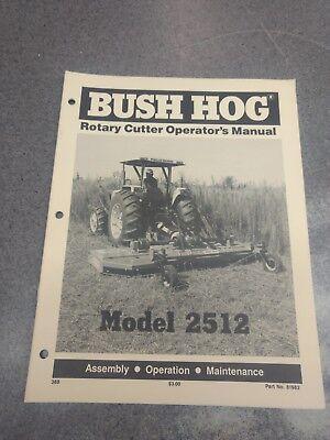 Bush Hog Rotary Cutter Model 2512 Operators Manual 81982