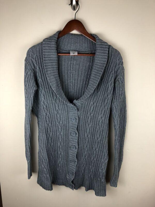 Motherhood Maternity Gray Chunky Knit Sweater Cardigan Womens Size Small - WWL1