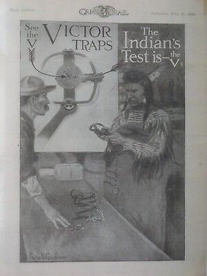 """Victor Trap Advertising poster,1913, """"INDIAN'S TEST IS THE V"""", Philip Goodwin"""