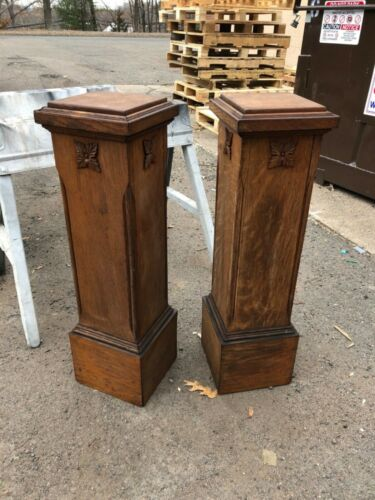 "pair arts & crafts quartersawn oak fern or art pedestal stands 34"" h x 9.75"" sq"