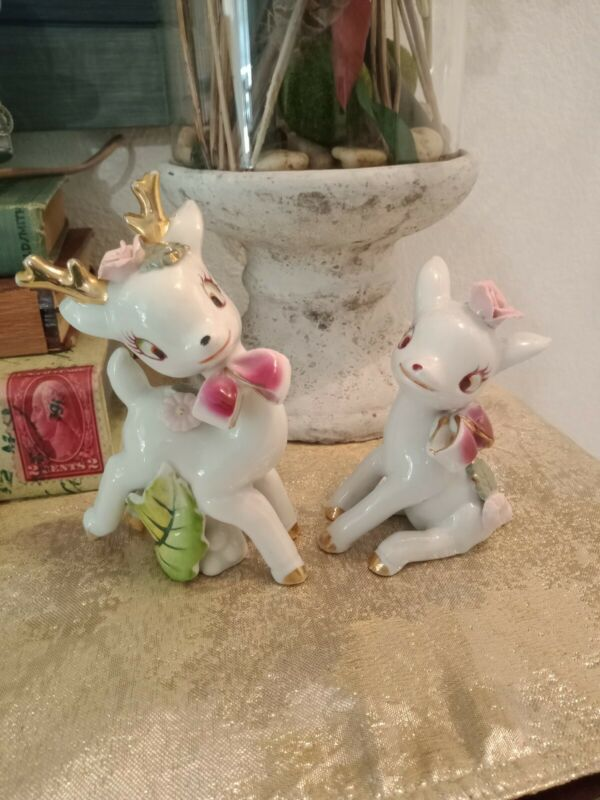 2 Vintage NAPCO Baby Deer Figurines White Porcelain Pink Roses Christmas Bow