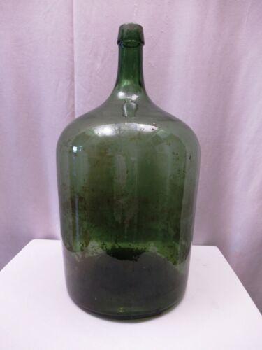 "Vintage Large Green Glass Demijohn Carboy Wine Bottle Antique Jug Collectible""12"