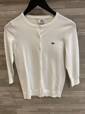 lacoste women 36 White Button Down Sweter Long Sleeve
