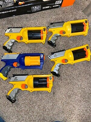 5 Nerf Maverick Rev 6 Gun Lot Various Colors Yellow Blue