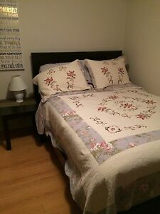 2 double beds/mattresses with end tables for sale