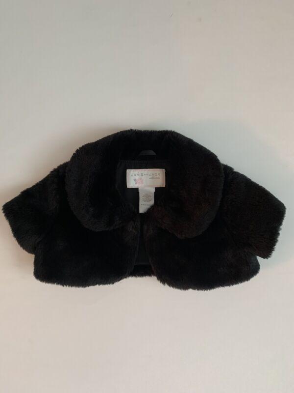 Janie and Jack Baby Girls 6-12 Months Black Faux Fur Shrug Cape Capelet