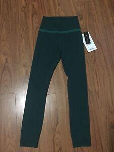Size 2 cyber stripe green align pants lululemon