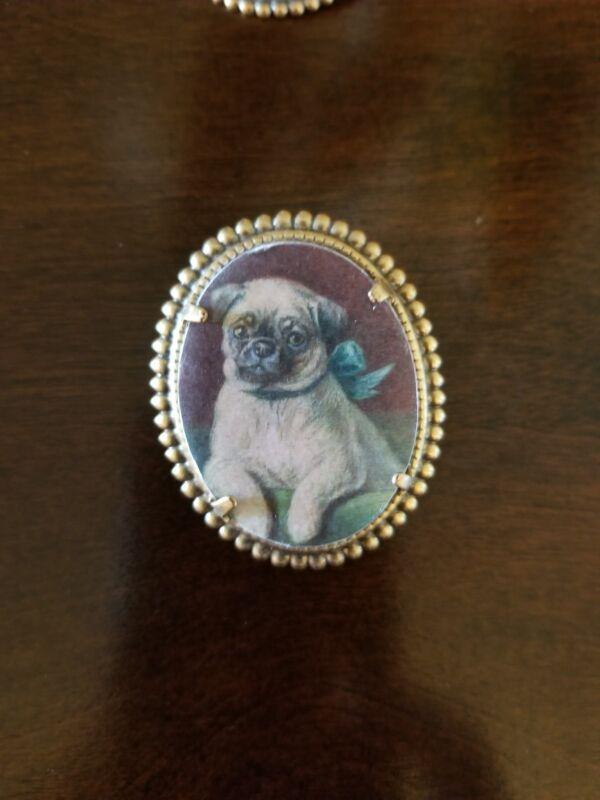 Pug Dog vintage like brass pin brooch jewelry #2