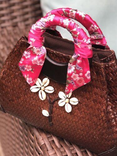 Pink Floral Twill Scarf Hair Scarf Handbag Scarf Purse handl