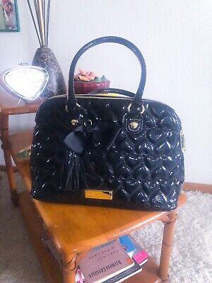 1950s Handbags, Purses, and Evening Bag Styles Retro Purse Black Handbag Quilted Heart Rockabilly 1950s Style Betsey Johnson $45.00 AT vintagedancer.com