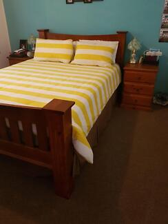 Queen bed set solid timber and mattress