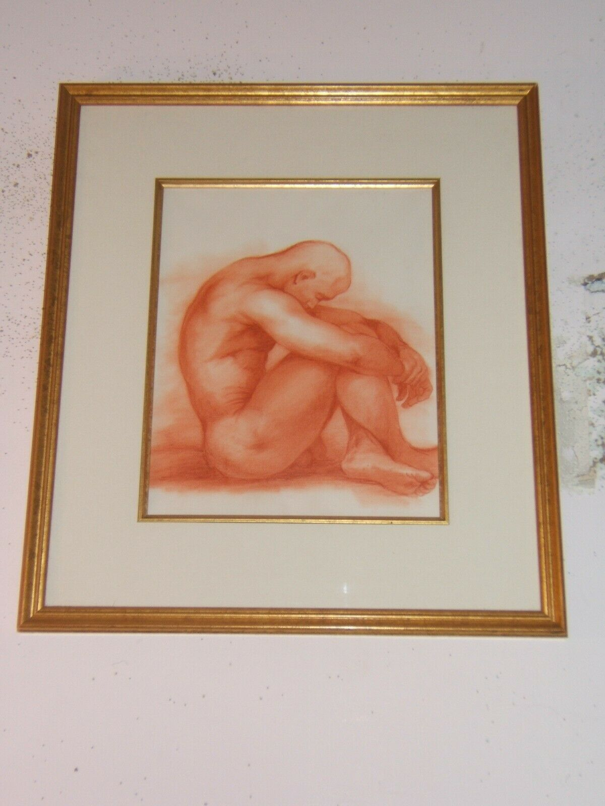 Original Art, Male Nude, Lawrence Schumaker, Framed, Prisma Pencil on Paper